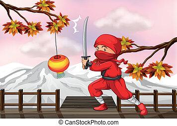 egy, piros, ninja, noha, egy, kard, -ban, a, wooden bridzs
