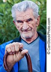 egy, portré, közül, egy, öregedő, senior bábu