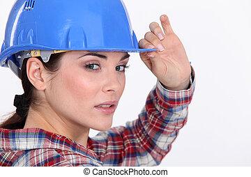 egy, portré, közül, egy, női, szerkesztés, worker.