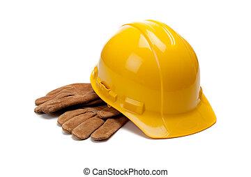 egy, sárga nehéz kalap, és, megkorbácsol, munka kesztyű, white