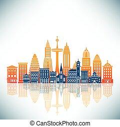egy, stilizált, város