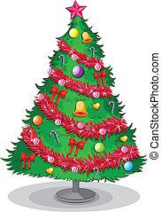 egy, színes, karácsonyfa
