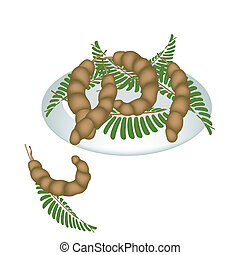 egy, tányér of, friss, tamarindusz-fa gyümölcse, hüvely, és,...