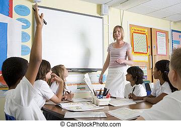 egy, tanár, tanítás, egy, junior tanít, osztály