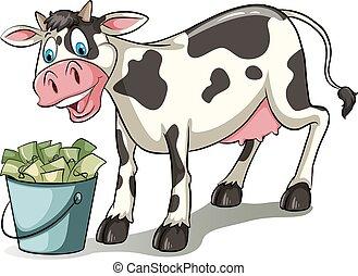 egy, tehén, őrzés, a, vödör
