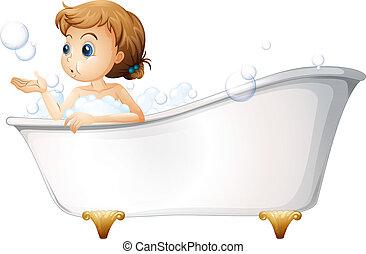 egy, tizenéves, tart fürdőkád, -ban, a, fürdőkád