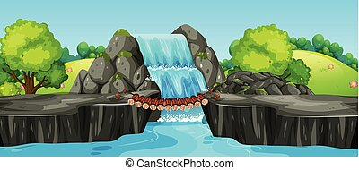 egy, vízesés, természet parkosít