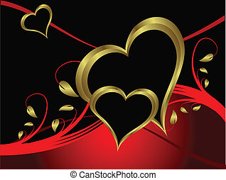 egy, vektor, valentines, háttér
