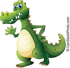 egy, veszélyes, krokodil