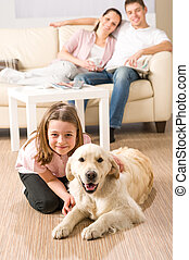 egy, vidám család, közül, három, noha, kutya