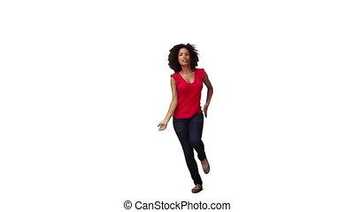 egy, woman táncol, képben látható, neki, saját