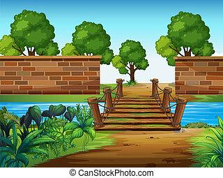 egy, wooden bridzs, a parkban