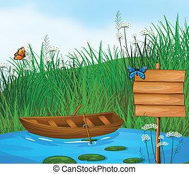 egy, wooden csónakázik, alatt, a, folyó
