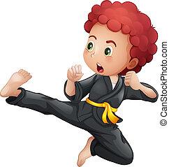 egy, young fiú, cselekedet, karate