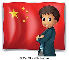 egy, young fiú, előtt, egy, kínai lobogó