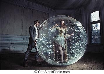 egy, young hölgy, kapott, megragadt, alatt, kristály labda