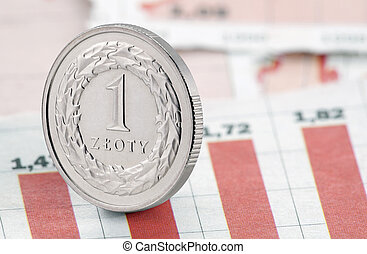 egy, zloty, képben látható, újság, diagram
