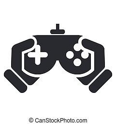 egyedülálló, ábra, elszigetelt, játék, vektor, video, ikon