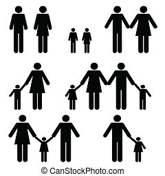 egyedülálló, és, két, szülő, család