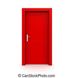 egyedülálló, ajtó, csukott, piros