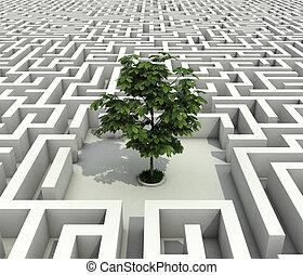 egyedülálló, fa, elveszett, alatt, vég nélküli, labyrin