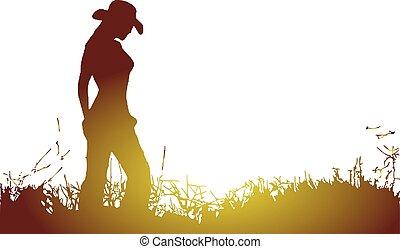 egyedül, cowgirl