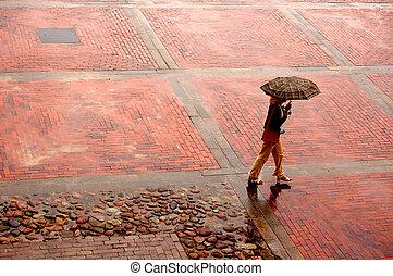 egyedül, eső