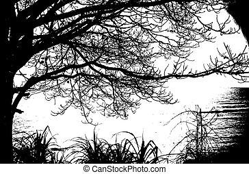 egyedül, fa, árnykép, szüret, és, sea., vektor