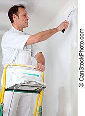 egyedül, festő, szobafestő, szoba