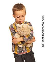egyedül, fiú, bús, hord, teddy-mackó