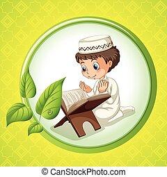egyedül, fiú, imádkozás, muzulmán