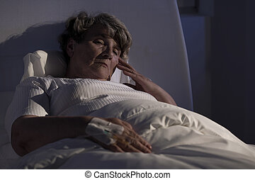 egyedül, kórház, hölgy, öregedő