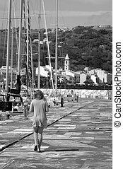 egyedül, leány, kikötő