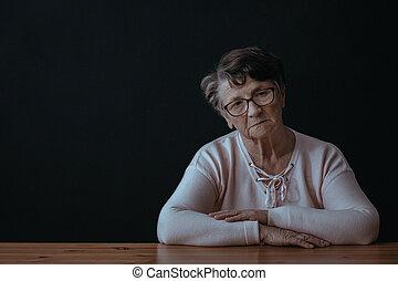 egyedül, nő, öregedő, ülés