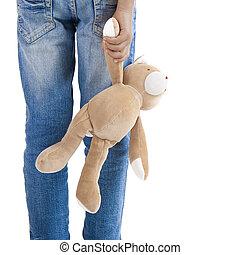 egyedül, neki, hord, teddy-mackó