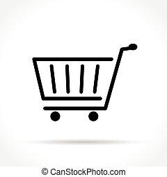 egyenes, bevásárlás, híg, ikon