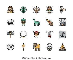 egyenes, dinoszaurusz, életkor, icons., meteorkő, ...