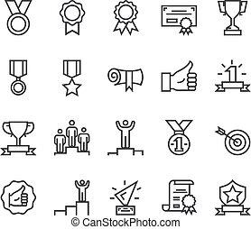 egyenes, hadizsákmány, tervezés, set., adományoz, érem, vektor, ikon, grafikus, lakás, elszigetelt, ábra