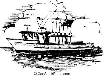 egyenes, hosszú, halászhajó