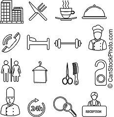 egyenes, hotel, állhatatos, ikonok
