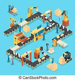 egyenes, isometric, fogalom, termelés, automatizált