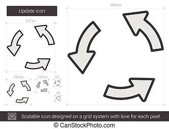 egyenes, korszerűsíteni, icon.
