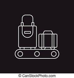 egyenes, poggyász, ikon