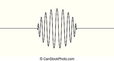 egyenes, rajzol, fogalom, hangzik, ingás, lenget, akusztika, rezgések, gömb, egy, alakít, vektor, amplitúdó, akusztikai, karika, lenget, lenget, karika, kerek