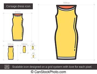 egyenes, ruha, icon., női ruhaderék