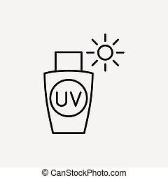 egyenes, sunscreen, ikon
