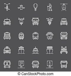 egyenes, szállítás, ikonok