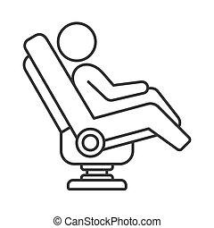 egyenes, szék, masszázs, fehér, vektor, mód, háttér., ikon