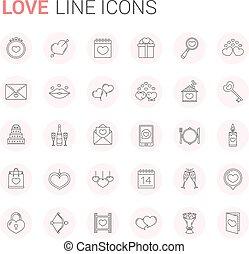 egyenes, szeret, ikonok