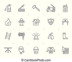 egyenes, tűzoltó, és, tűzoltók, ikonok